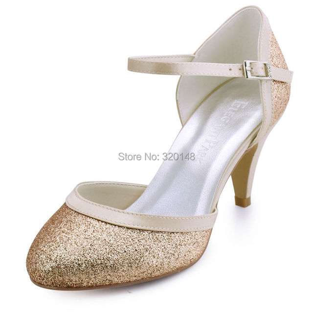 b0ca44720c7a HC1510 Woman Shoes Wedding Bridal Mid Heel Silver Gold Round Toe Buckle  Glitter Bride Bridesmaid Lady Party Prom Evening Pumps