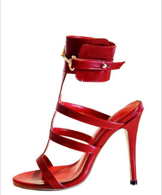 Ouvert Talon Chaussures Solides Rouge Boucle Creux Talons Sandales Sangle Date Sexy Femmes Hauts Gladiateur De Mince Red Femme 6fq4wp