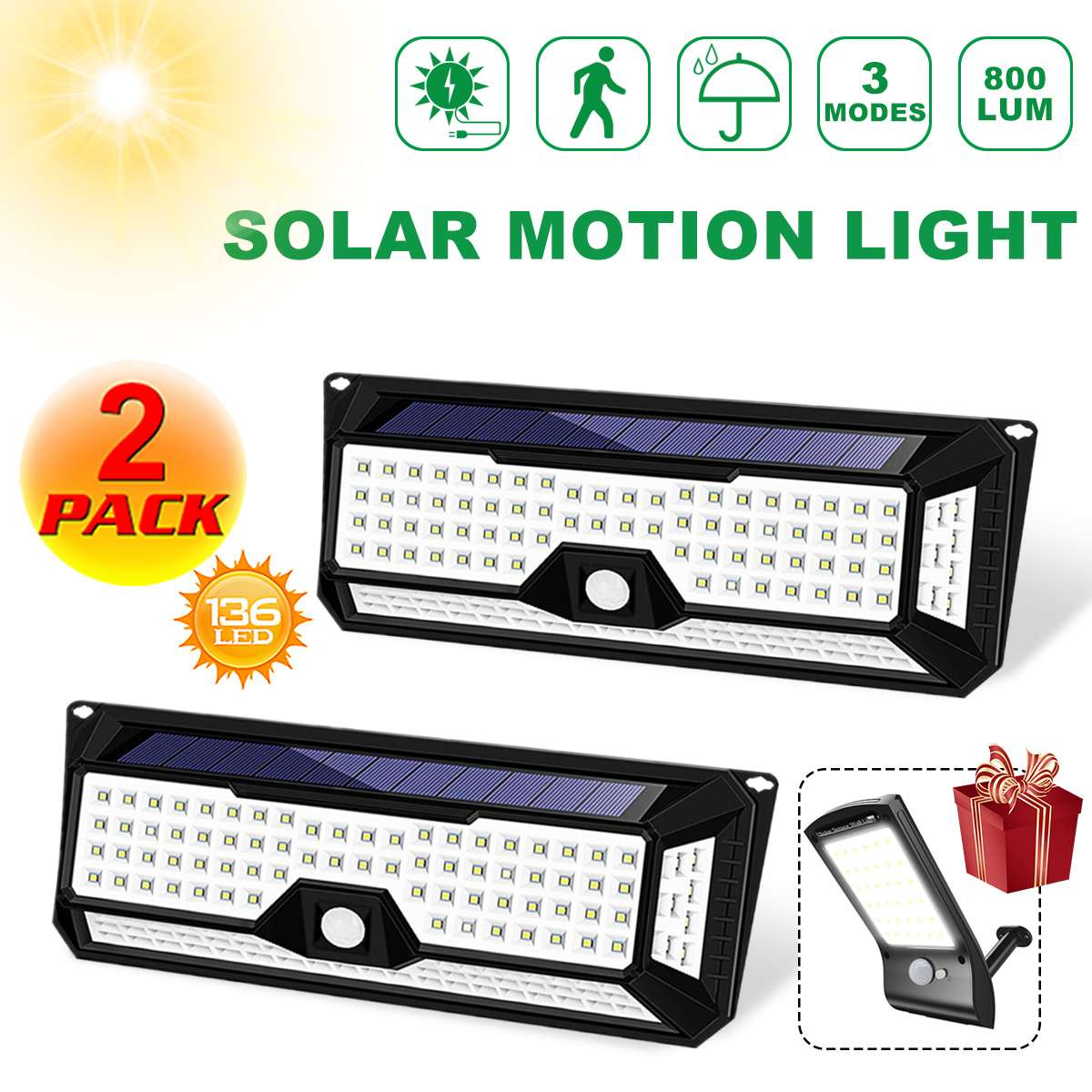 Waterproof 136 LED 1810LM Garden Solar Lights Solar LED Wall Light Outdoor 3 Modes 270 Degree Solar PIR Motion Sensor Lamps|Solar Lamps| |  - title=