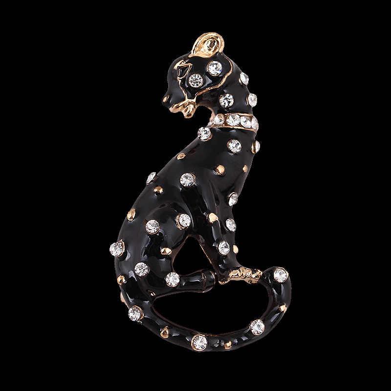 Sonho Doces Criativo Rhinestone Leopard Esmalte Broche de Pino de Broches para As Mulheres Presentes para Homens Terno Acessórios Jóia Animal 2019