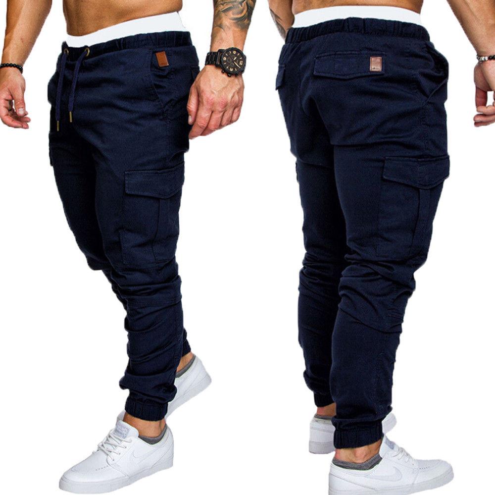 Skinny Pants 2018 New Fashion Hot Popular Slim Fit Straight Leg Pants Casual Pencil Jogger Cargo Trousers Men