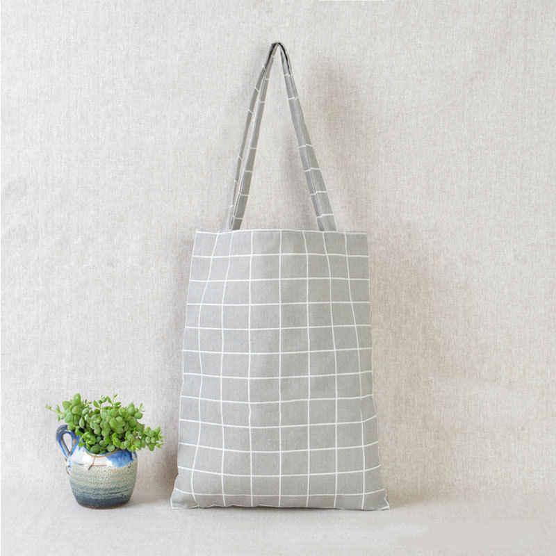 2018 модная прочная Женская Студенческая хлопковая льняная Одиночная хозяйственная сумка через плечо сумка в клетку женские льняные парусиновые сумки для покупок