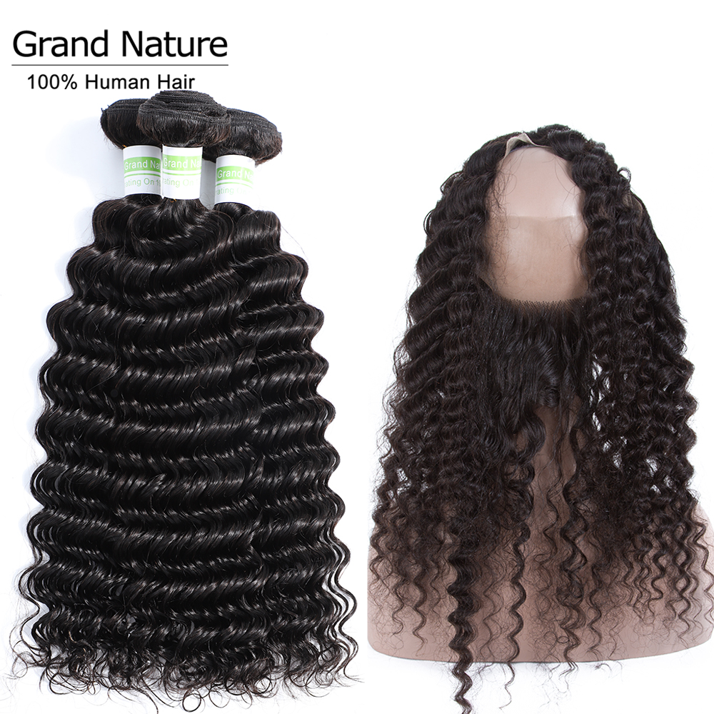 PrePlucked 360 Lace Frontal Closure With 3Bundles Deep Wave Malaysian Hair Bundle With Closure Pineapple Wave Human Hair Remy