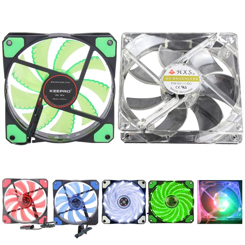 120mm PC Computer Fan 12V 3-4Pin 15LED Lighting PC Case Fan Cooler Computer Parts Accessories Cooling Fan