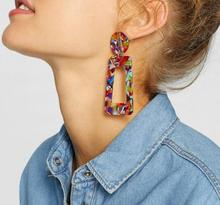Colorful Boho Geometric Statement Earrings Fashion Jewelry Colorful Leopard Printed Acrylic Drop Earrings for Women Accessories colorful enamel geometric star cat drop earrings