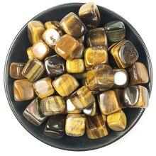 Natural yellow tiger eye square shape natural crystal gravel degauss stone original grinding shop fish tank landscaping