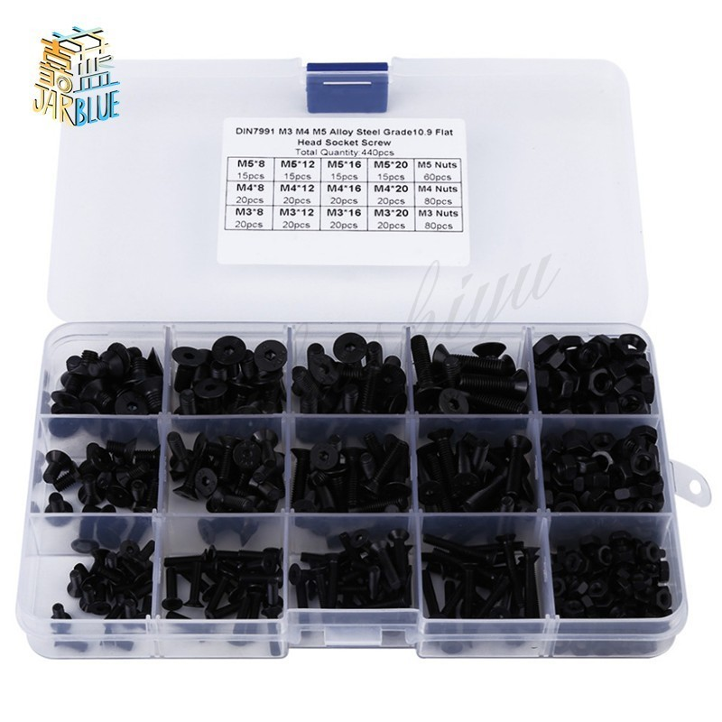 440pcs/set M3 M4 M5 Alloy Steel Hex Socket flat Head Screws Bolts Nuts Assortment Kit Fasteners Hardware Black with Box постельное белье лазурит голубой бязь 1 5 спальный