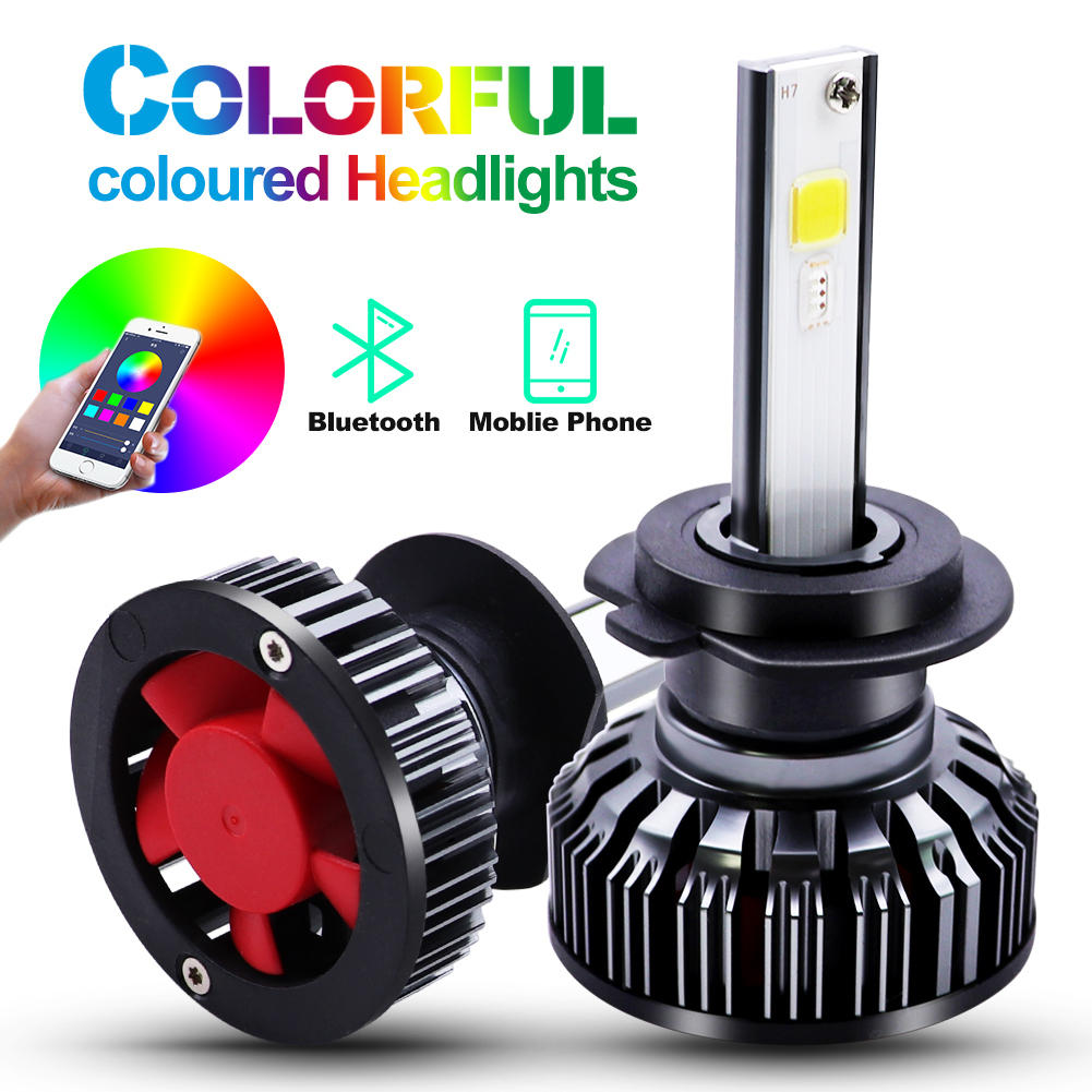<font><b>H4</b></font> H7 LED <font><b>RGB</b></font> Car Headlight Bulbs H1 H3 H11 H13 880 9005 9006 9012 COB chip APP Bluetooth Control Car Driving Day Running Lights image