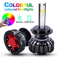 H4 H7 LED RGB Car Headlight Bulbs H1 H3 H11 H13 880 9005 9006 9012 COB chip APP Bluetooth Control Car Driving Day Running Lights