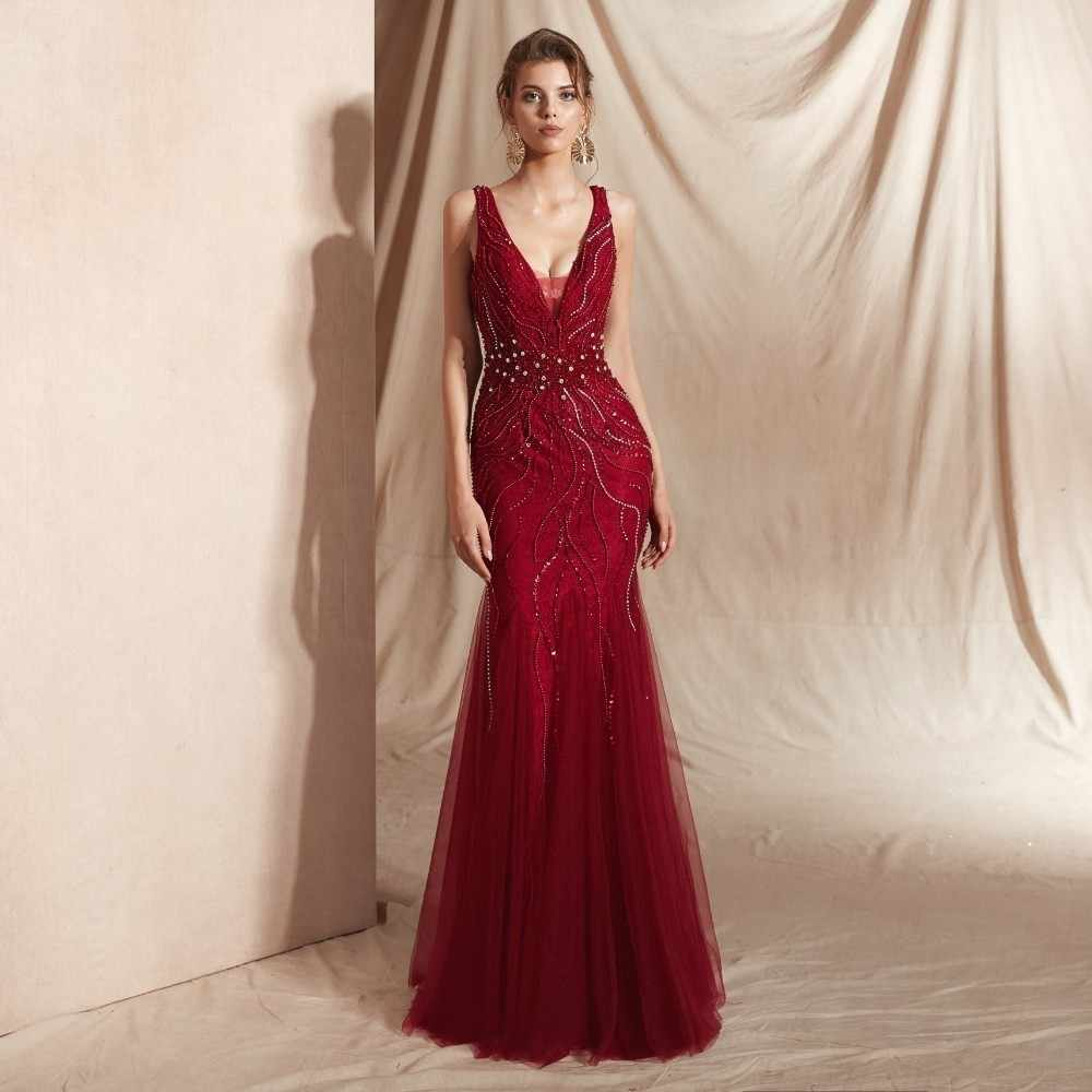 Vivian s Bridal 2019 Fashion Crystal Beading Sequin Appliques Mermaid Evening  Dress Sexy Deep V-neck c05948ce342b