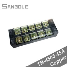 TB-4505 Copper Connection Plate 45A 5 Position Tb Series Fixed Type Plug-in screws Electrical Terminal Block (2PCS)