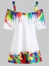 Plus Size Tie Dye Cold Shoulder T-Shirt