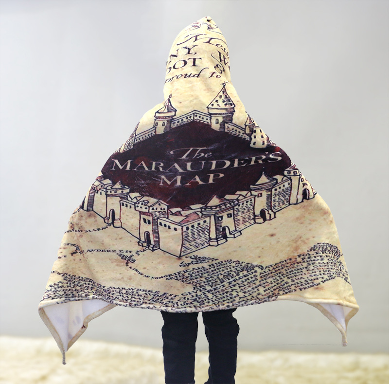 Hogwarts Cosplay The Marauder's Map Printed Cloak Kid Flannel Cape Winter Warm Coat Hogwarts Cosplay Halloween Cosplay Costumes