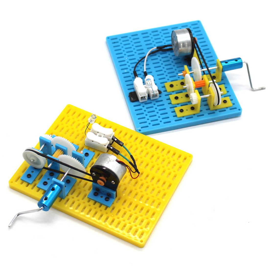 สแควร์มือ Crank Generator เข็มขัดเกียร์เกียร์ Power Generator การทดลองทางวิทยาศาสตร์ DIY ของเล่นสำหรับของเล่นเด็ก