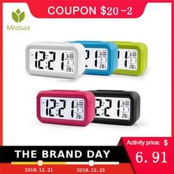Mrosaa  Large LED Digital Alarm Clock Backlight Snooze Mute Calendar Desktop Electronic Bcaklight Table clocks Desktop clock