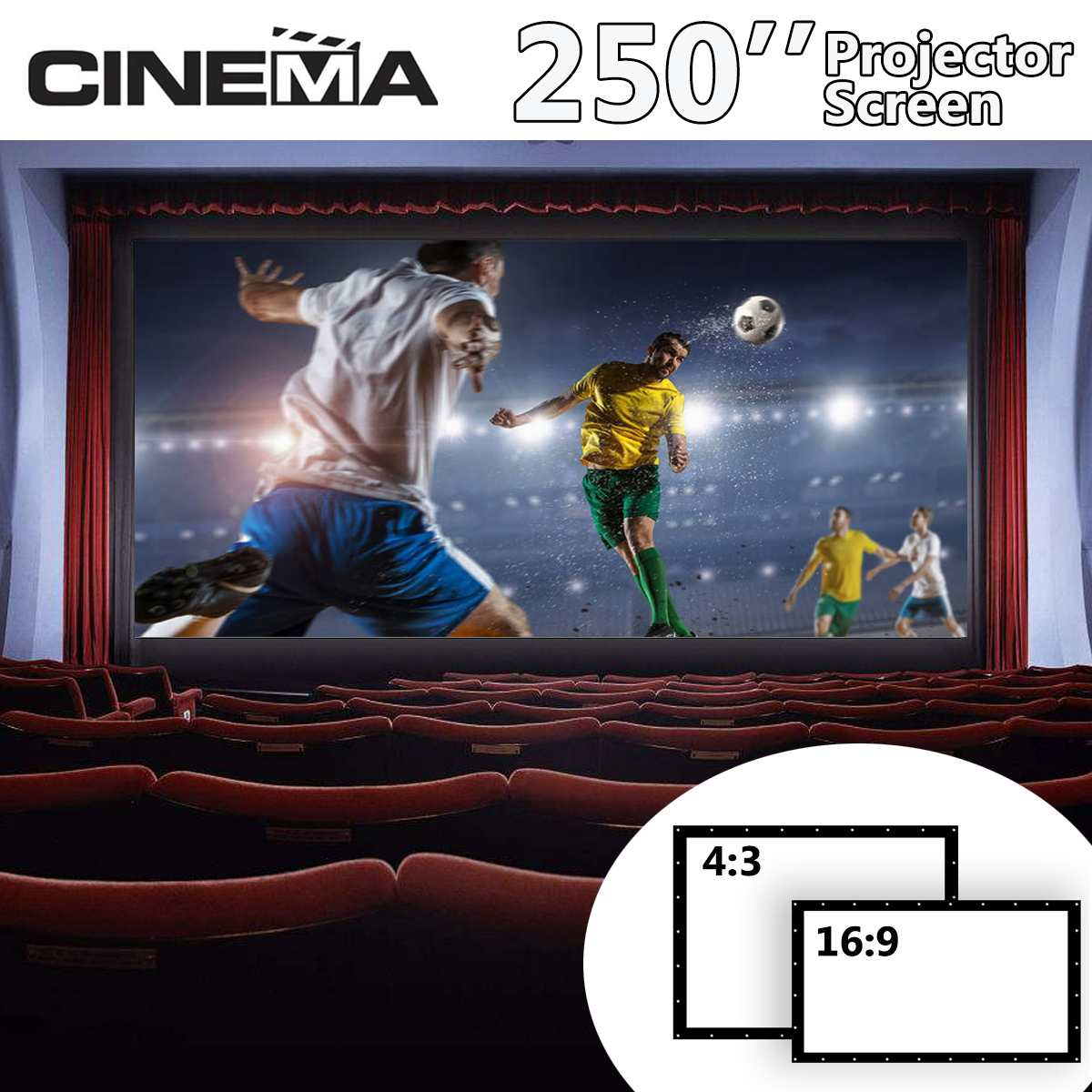 250 Inch 4:# Foldable Projection Screens Portable Outdoor Indoor Travel Projector Screen Home Theater 3D Screen Wall Mounted250 Inch 4:# Foldable Projection Screens Portable Outdoor Indoor Travel Projector Screen Home Theater 3D Screen Wall Mounted