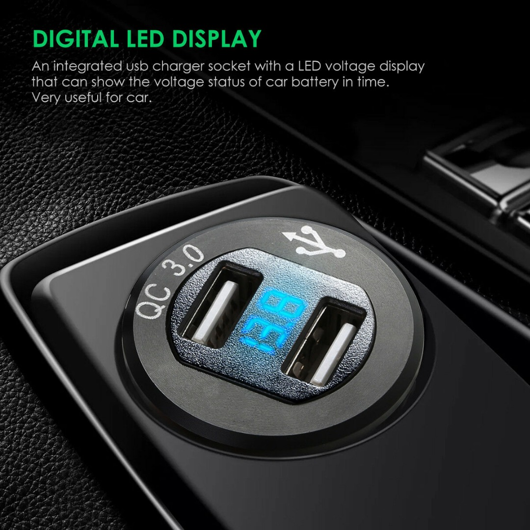 QC 3.0 Fast Dual USB Car Charger Socket Adapter Voltmeter For Mobile Phone Cigarette Lighter Car Dual Charger Adapter Voltage
