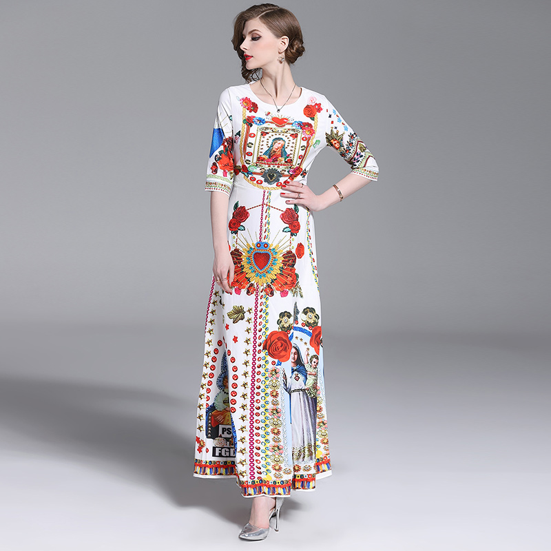 2019 Summer Style Women Dress High Quality Fashion Runway Dresses Short Sleeve Floor Length Baroque Print Vintage Retro Dresses