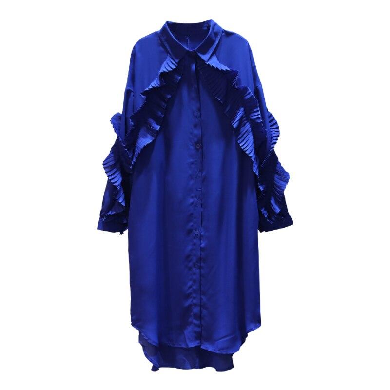 Ear ewq Pattern Shirt Ad38705 Solid 2019 Singe Lapel Black blue New Women yellow Fashion Vintage Breasted Long Wooden Patchwork Sleeve Dress gwvqg4r