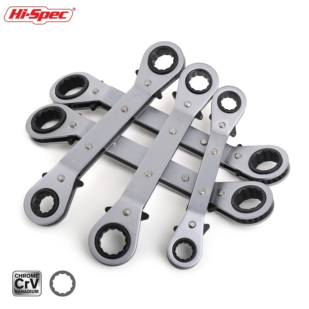 Hi-Spec 5pc 6-21mm Ratchet Torque Wrench Tool Set Double Box End Offset Ring Key Set Bend Ratchet Wrenches Spanner Universal Key
