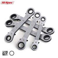 Hi Spec 5pc 6 21mm Ratchet Torque Wrench Tool Set Double Box End Offset Ring Key Set Bend Ratchet Wrenches Spanner Universal Key