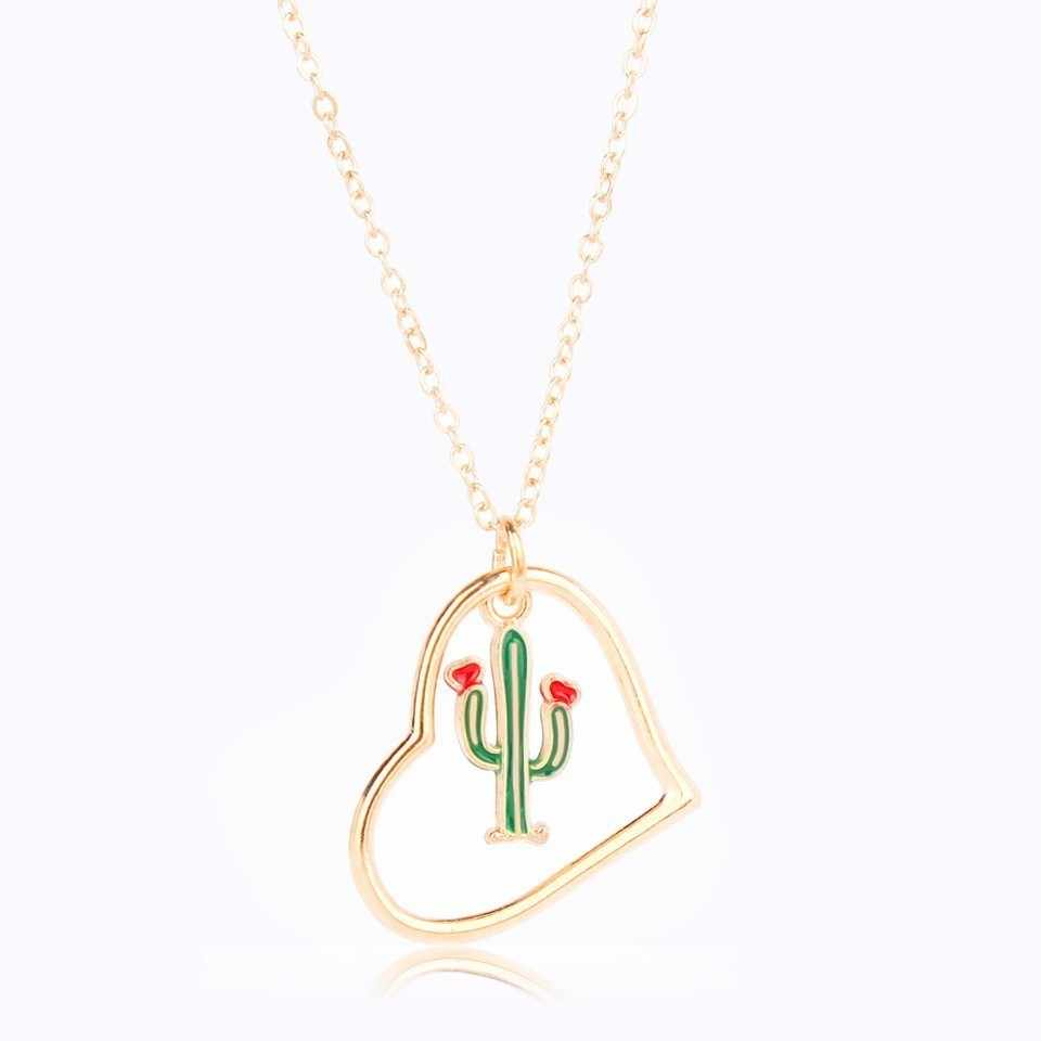 YANGQI Cactus Coco Rose Pendant Necklace Female Hallow Heart Shaped Cute Plants Serious Trendy Jewelry Female Gold Color