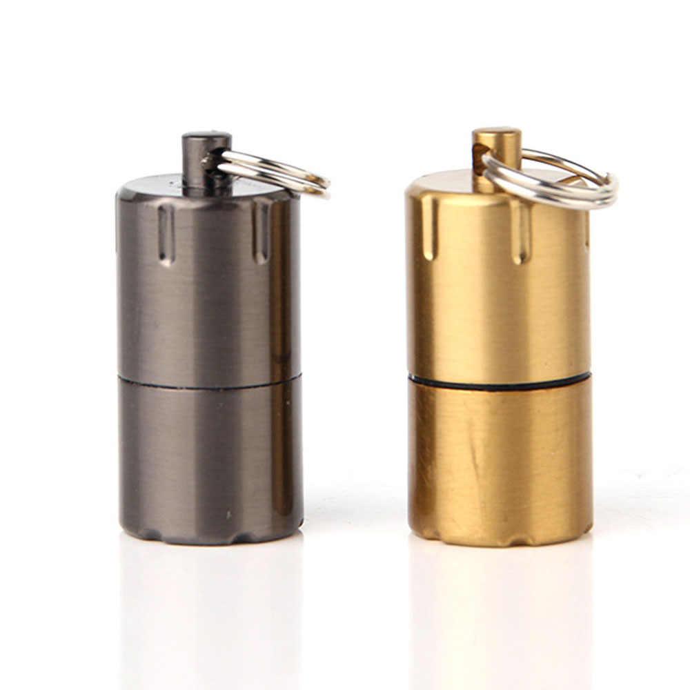 MINI Compact น้ำมันก๊าดไฟแช็กพวงกุญแจแคปซูลน้ำมันเบนซินไฟแช็กพองพวงกุญแจเบนซินไฟแช็กเครื่องมือกลางแจ้ง