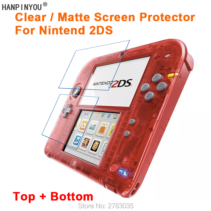 For Nintend 2DS (Top + Bottom) Clear Glossy / Anti-Glare Matte LCD Screen Protector Protective Film Guard (Not Tempered Glass)