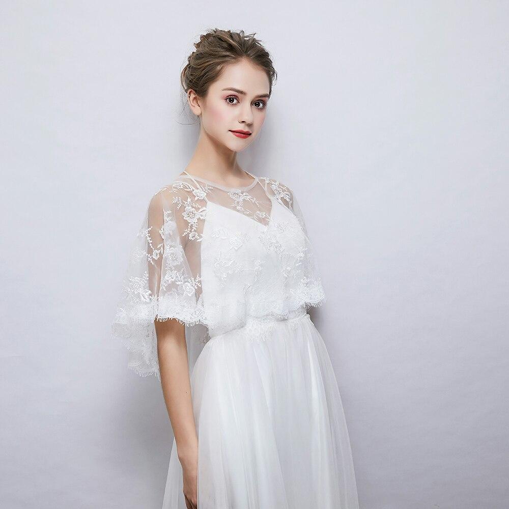 New Embroidered Eyelash Lace Wrap Fashion Women Summer Sheer Cape Bridal Wedding Princess Shawl Cover Up Handmade
