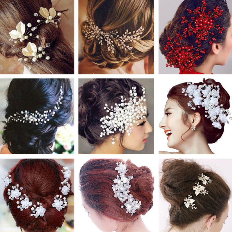 Wedding jewelry Headdress Simulated pearl Hair comb Hair clip Crystal Flower Hairpins Bridal Hair accessories Ornaments