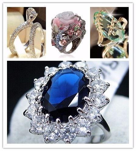 Vendita calda Top Quality Fashion Women Lussuoso Elegent Blue Crystal Wedding Ring Concise gioielli Anelli Perfetto
