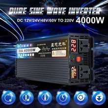 4000 Вт трансформатор напряжения чистая Синусоидальная волна солнечный инвертор DC 12 В 24 в 48 в 60 в к AC 220 В lcd/светодиодный дисплей