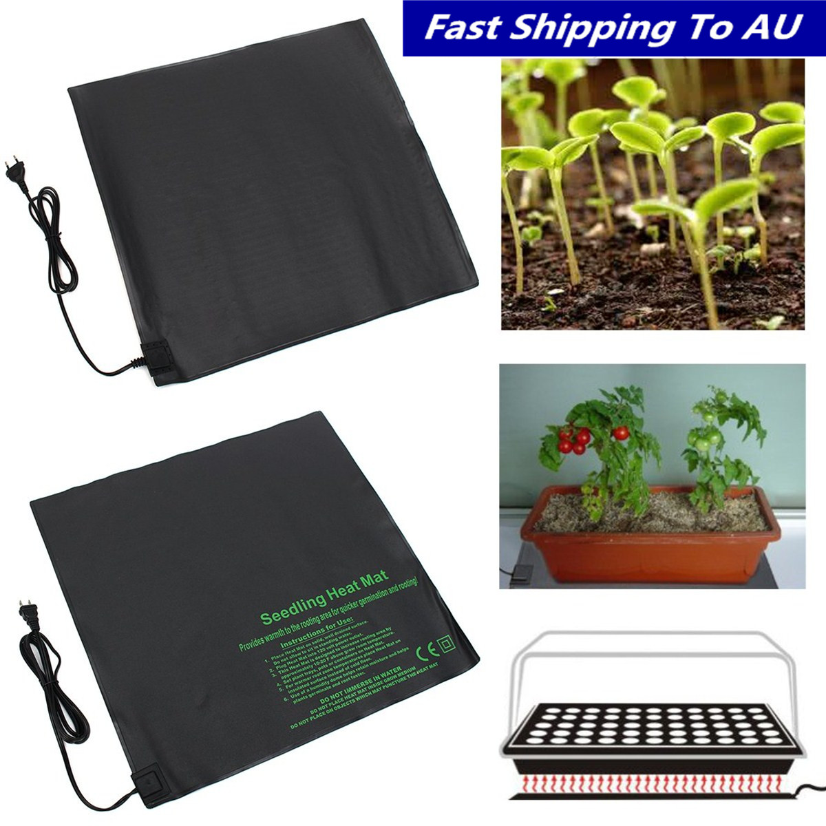 52x52cm Seedling Heating Mat Waterproof Plant Seed Germination Propagation Clone Starter Pad Garden Supplies EU USPlug 110V 220V