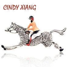 CINDY XIANG Rhinestone Ride Horse Women Brooches Fashion Cute Creative Brooch Pin Enamel Jewelry Coat Accessories Good Gift(China)