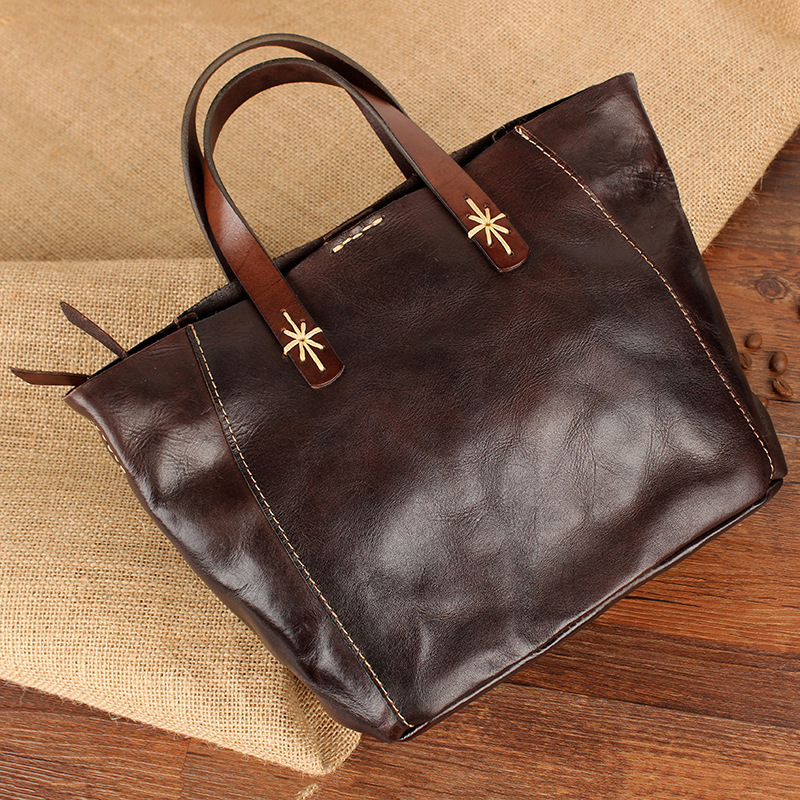 Original handmade handbags small bags retro vegetable tanned leather shoulder diagonal first layer leather personality art Tote in Top Handle Bags from Luggage Bags