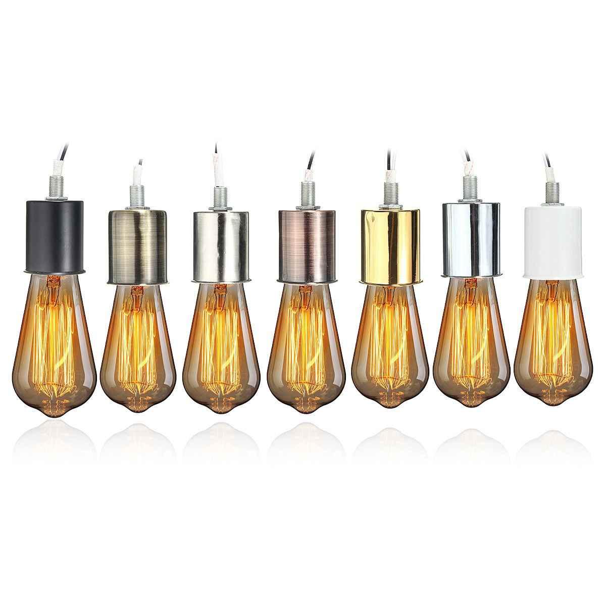 E27 Lamp Base Vintage Retro Antique Edison Ceramic Screw Bulb Hang Socket Lamp Base Holder Light Fitting With Wire 230V