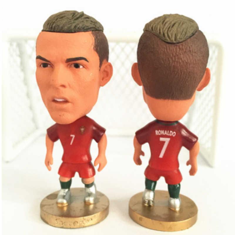 1PC Giocatore di Calcio star Modello Giocattolo Statuette Messi Ronaldo Neymar Bambole Azione Figurine di Calcio Ventole Regalo Per La Decorazione Domestica