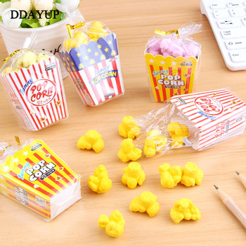 1 Pack Kawaii Food Popcorn Eraser Children Stationery School Supplies Rubber Pencil Erasers Correction Kids Girl Toy Gift kawaii cartoon hello kitty donut pencil eraser office school correct supplies child writing drawing correction rubber gift