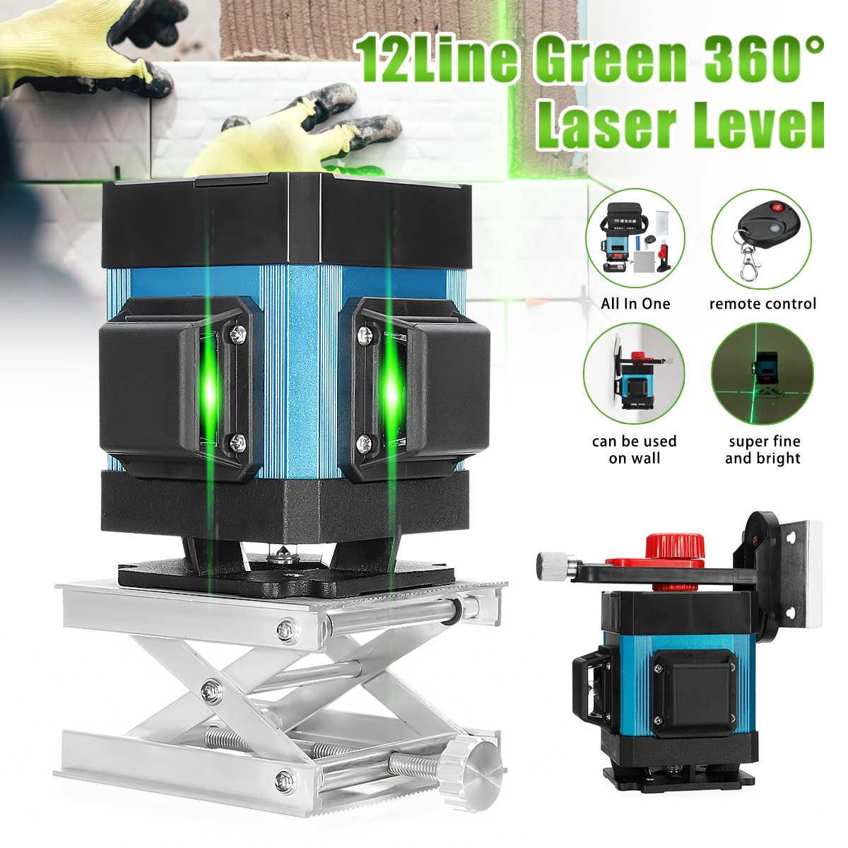3D Niveau Laser Vert Laser Niveau 12 Lignes Auto Nivellement 360 ° Rotatif Vertical et Horizontal télécommande Mesure Outil + supports muraux