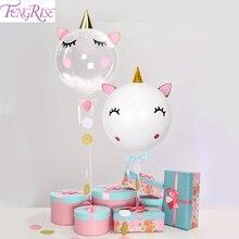 FENGRISE Giant Balloons Unicorn Birthday Party Decor Kids Baloon Baby Shower Balloon Happy Ballons Set