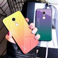 Redmi Hinweis 4 Note4 Fall Gradienten Aurora Gehärtetem Glas Zurück Abdeckung Für Xiaomi Redmi Hinweis 4X Note4X Bunte Shell Protector