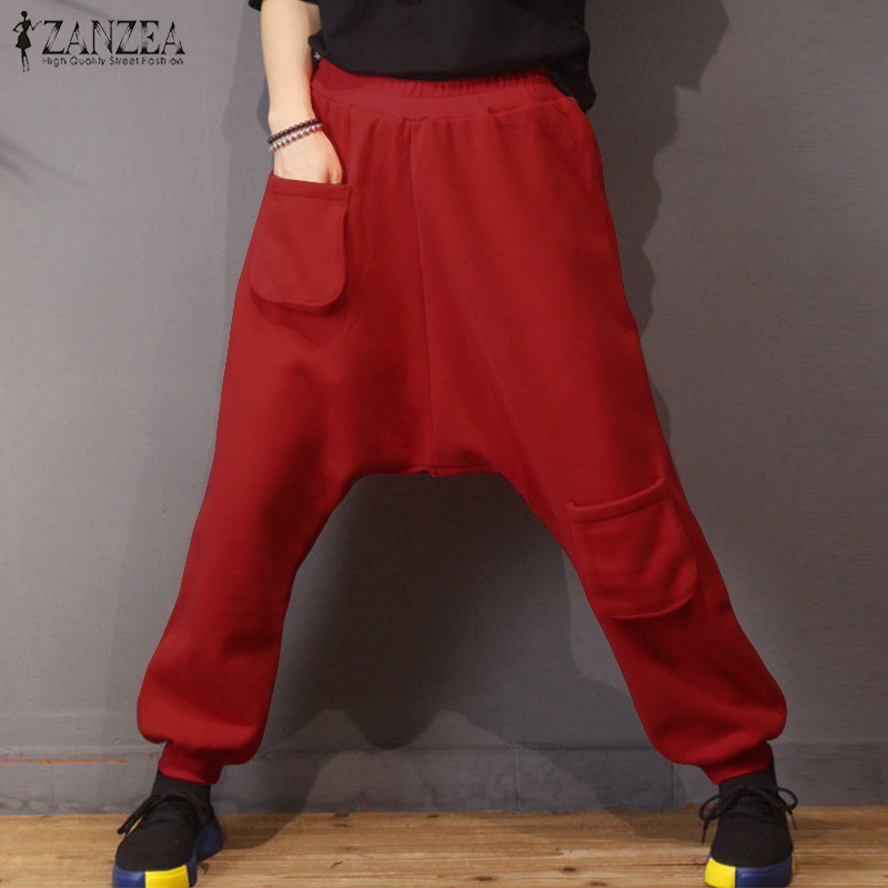 2019 ZANZEA Women Elastic Waist Drop Crotch Turnip Pants Solid Pockets Harem Trousers Female Autumn Pants Pantalon Plus Size