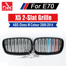 A Pair X5 E70 Front Grille ABS Gloss M-Color For X5M Double Slats Grills M-Style Car Bumper Kidney 2007-2013