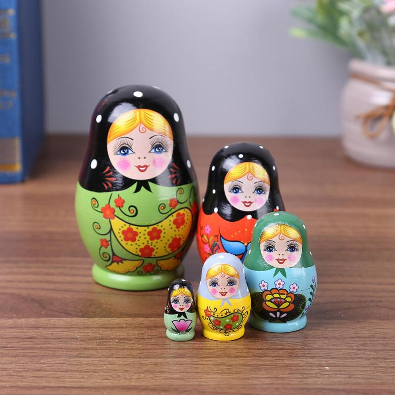 1 Set Nesting Dolls Delicate Color Painted Russian Matryoshka Doll Handmade Painted Wishing Russian Funny Games Doll Crafts Toys