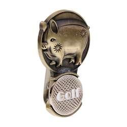 Зажим для шляпы для гольфа (с магнитный маркер мяча) Винтажный дизайн зодиака-идеальная идея подарка (Ретро Зодиак животный поросенок