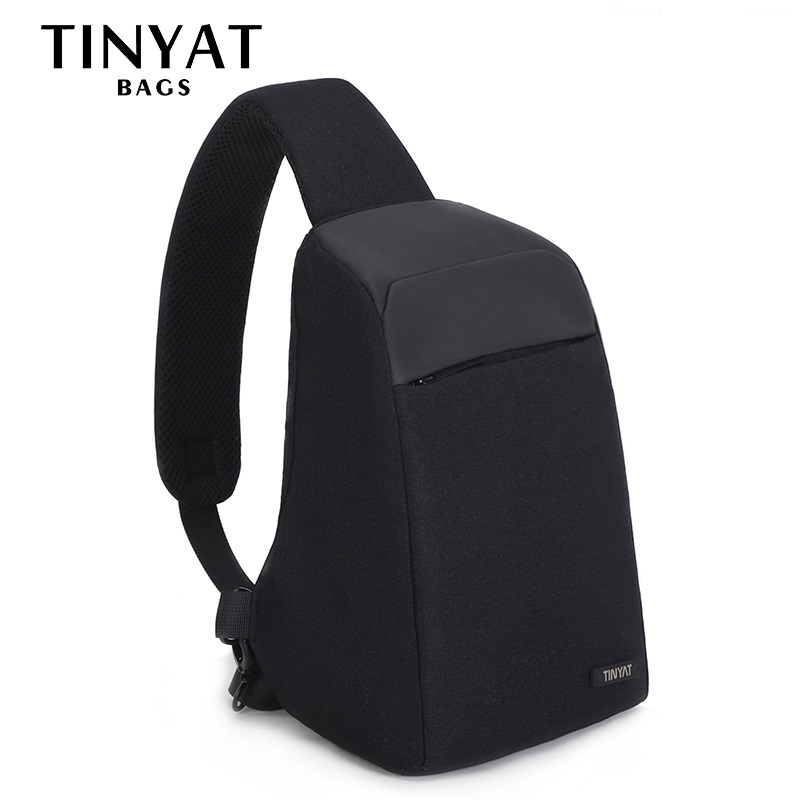 TINYAT Men Anti-Theft Shoulder Bag 7L Men's Chest Bag Fit 9.7 Inch Ipad Short Trip Black Bag Multi Pockets Messenger Bag T613