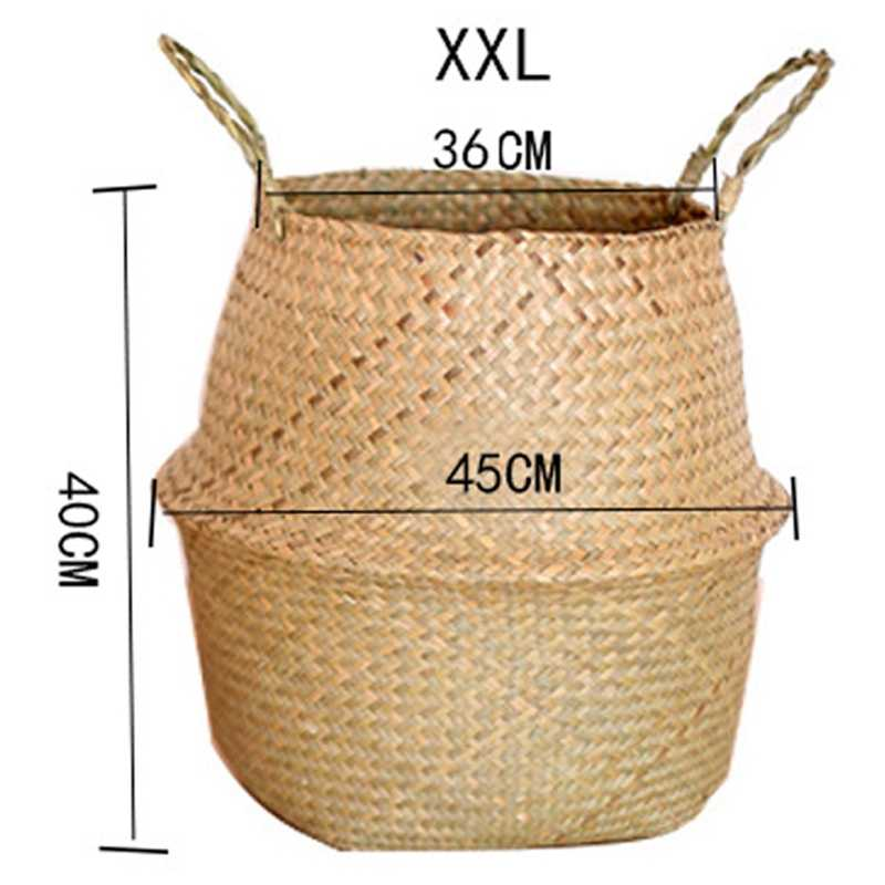 Rattan Folding Basket Seaweed Wicker Baskets Dirty Laundry Storage Basket Home Storage Simple Decoration Organizer Garden Pot