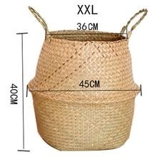 Rattan Folding Basket Seaweed Wicker Baskets Dirty Laundry Storage Home Simple Decoration Organizer Garden Pot