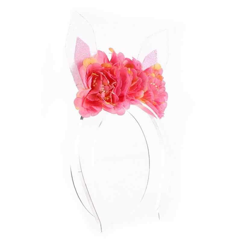 แมวหู Headband ผม Hoop ตกแต่งดอกไม้อุปกรณ์เสริมสำหรับผมเด็ก (แตงโม)