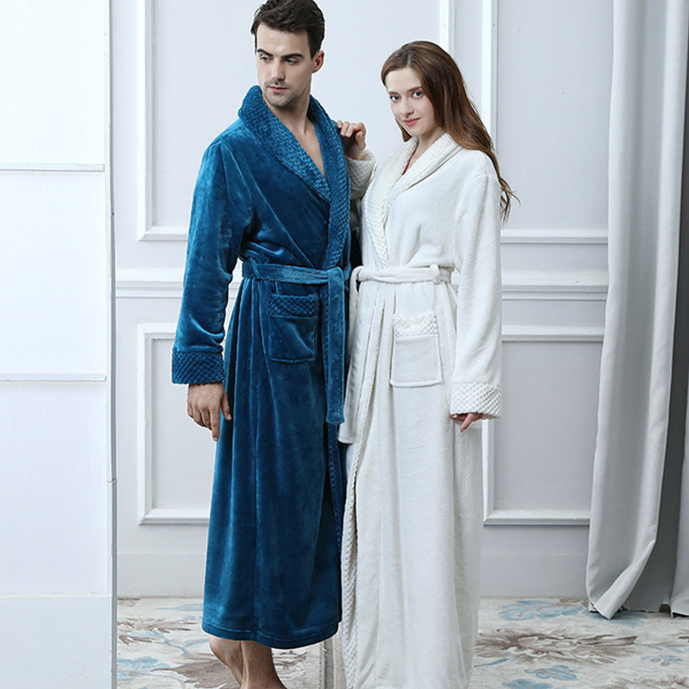 Lovers White Extra Long Thermal Bathrobe Women Men Plus Size Winter Thick Flannel Warm Bath Robe Dressing Gown Bridesmaid Robes